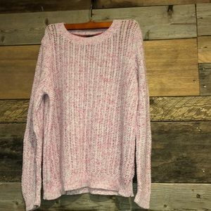 Talbots Heathered Pink Mesh Crew Neck Sweater XL